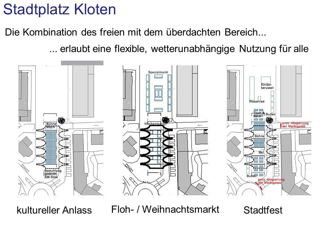 Stadtplatz Kloten MIGROS SQUARE FLEISCHLI Die Kombination des freien mit dem überdachten Bereich...
