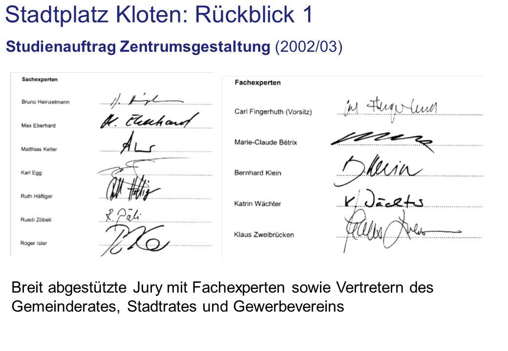 Stadtplatz Kloten: Rückblick 1 Studienauftrag Zentrumsgestaltung (2002/03): Siegerteam......unter Leitung ernst niklaus fausch architekten (Zürich)