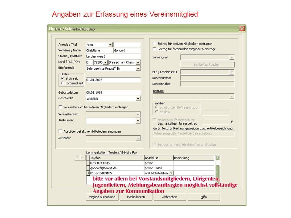Vereinsdaten: Vereinsname, Meldejahr, Anschrift, Bankverbindungen, Telefon, Fax, E-Mail-Adressen Personendaten-Vorstand: Vorstandsverantwortliche wie 1.