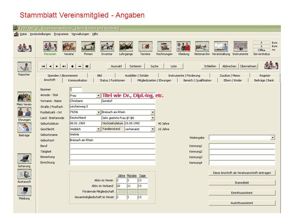Stammblatt Vereinsmitglied - Angaben