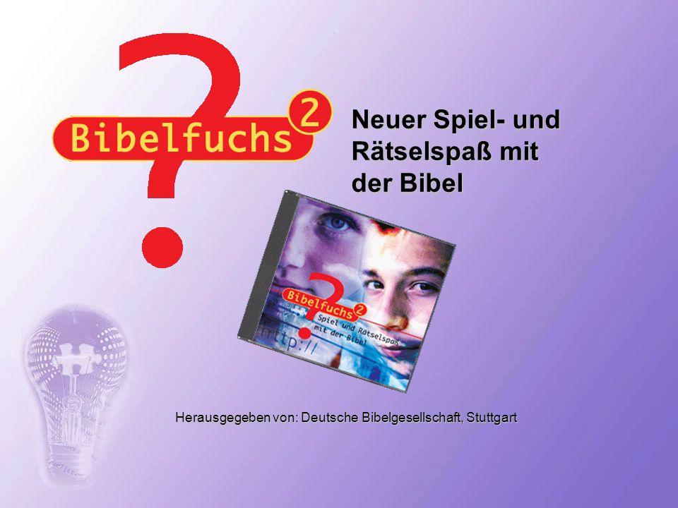 Bibelfuchs, der Rätselspaß rund um die Bibel Nach dem Erfolg der ersten Bibelfuchs-CD-ROM bringt die zweite Folge des Bibelspiels zusätzlichen Spaß mit vielen neuen Rätselideen.