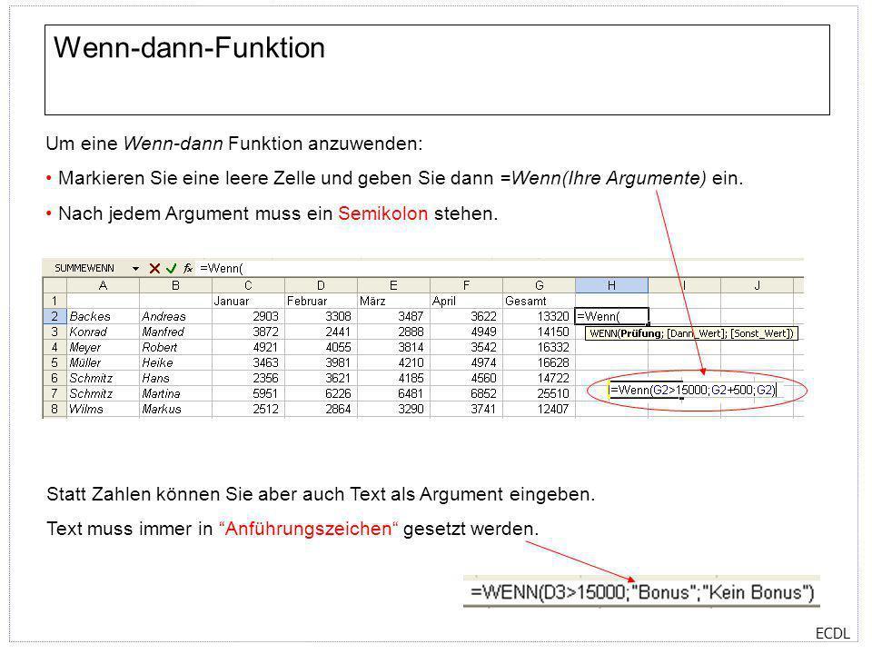 ECDL Wenn-dann-Funktion Um eine Wenn-dann Funktion anzuwenden: Markieren Sie eine leere Zelle und geben Sie dann =Wenn(Ihre Argumente) ein. Nach jedem