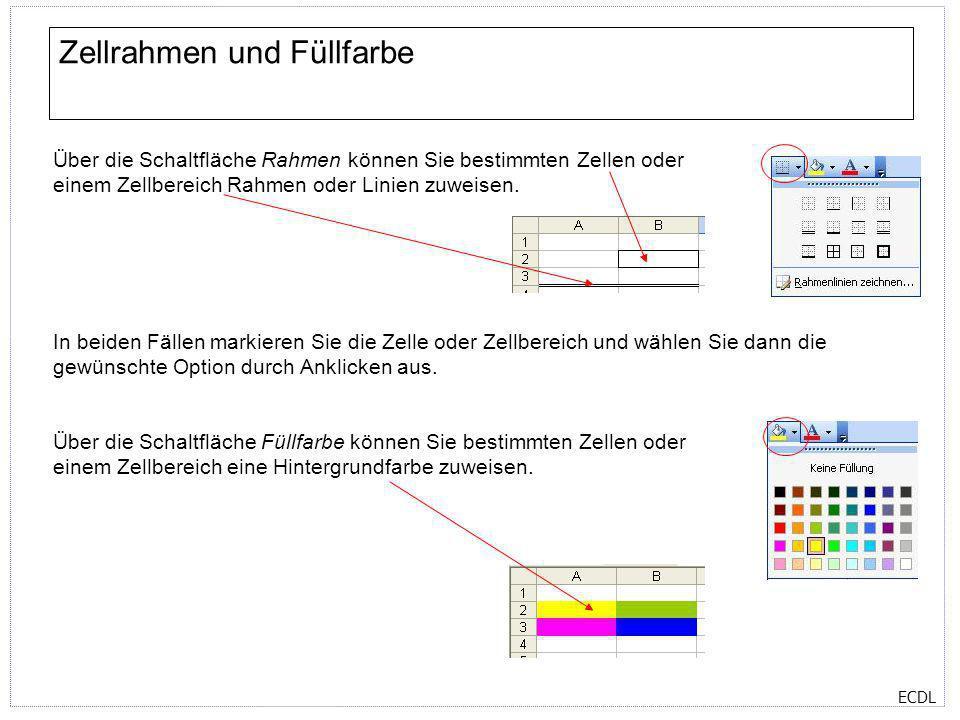 ECDL Zellrahmen und Füllfarbe Über die Schaltfläche Rahmen können Sie bestimmten Zellen oder einem Zellbereich Rahmen oder Linien zuweisen. Über die S
