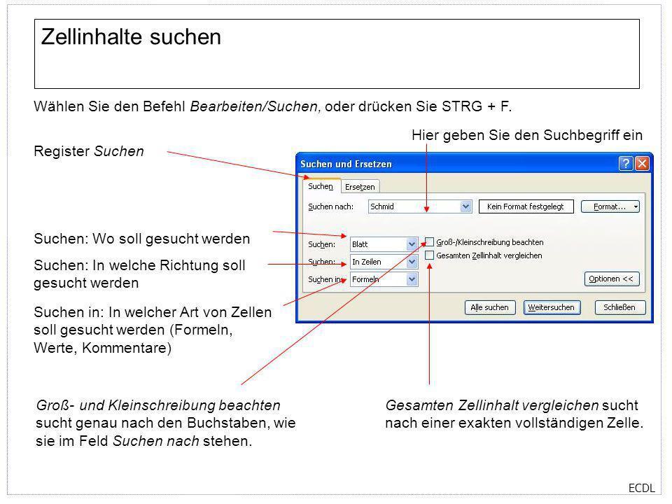 ECDL Zellinhalte suchen Wählen Sie den Befehl Bearbeiten/Suchen, oder drücken Sie STRG + F. Register Suchen Hier geben Sie den Suchbegriff ein Suchen: