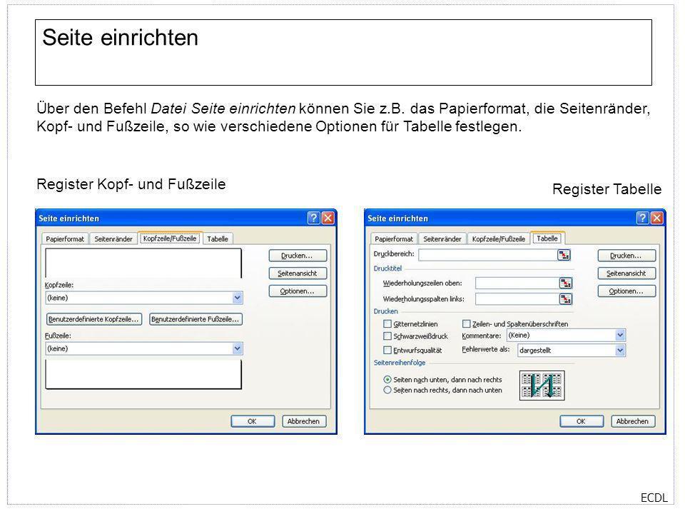 ECDL Seite einrichten Über den Befehl Datei Seite einrichten können Sie z.B. das Papierformat, die Seitenränder, Kopf- und Fußzeile, so wie verschiede