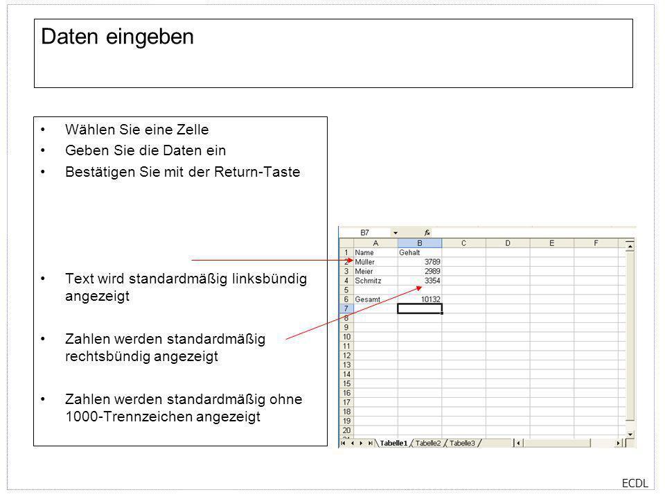 ECDL Daten eingeben Wählen Sie eine Zelle Geben Sie die Daten ein Bestätigen Sie mit der Return-Taste Text wird standardmäßig linksbündig angezeigt Za