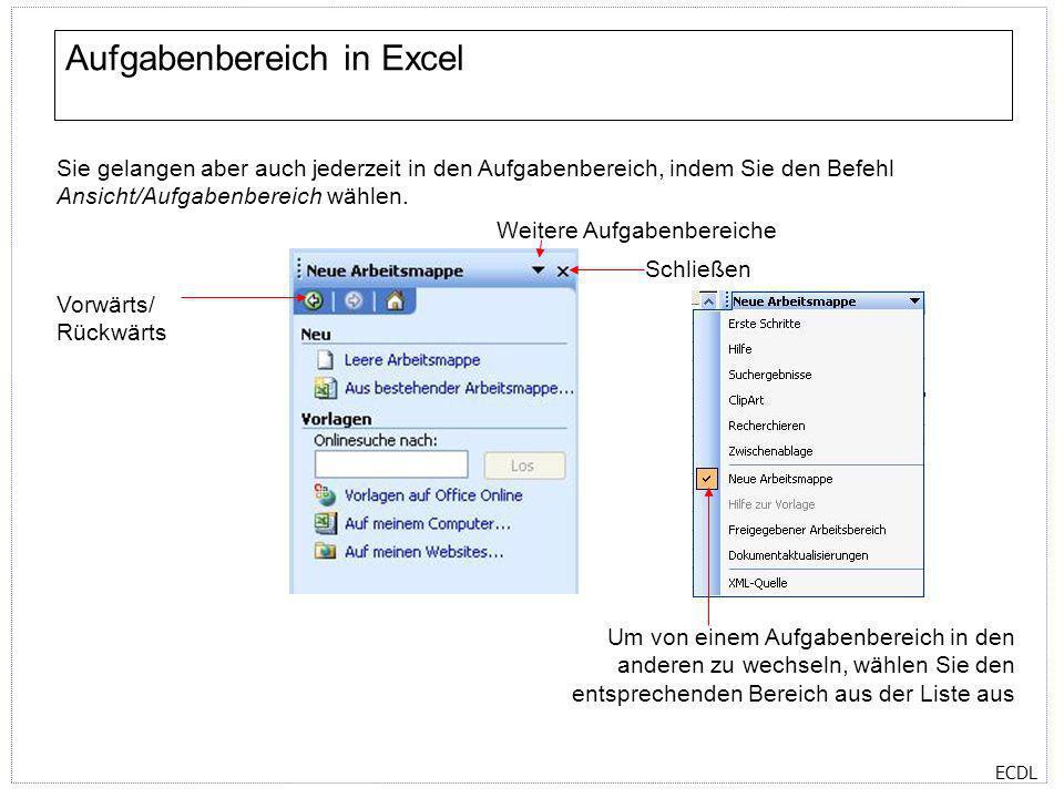 ECDL Aufgabenbereich in Excel Sie gelangen aber auch jederzeit in den Aufgabenbereich, indem Sie den Befehl Ansicht/Aufgabenbereich wählen. Vorwärts/