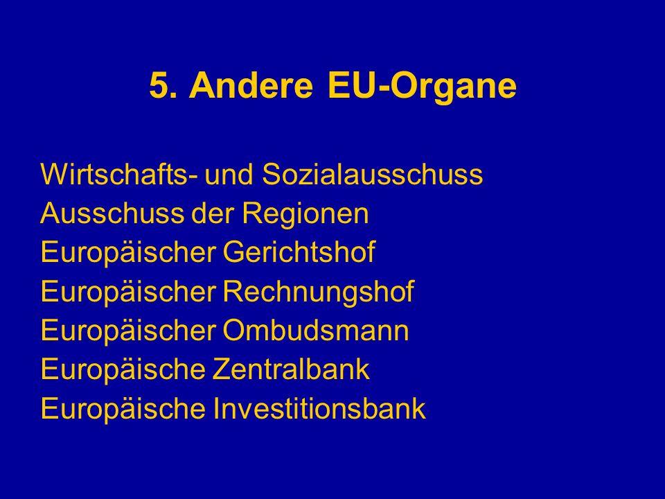 5. Andere EU-Organe Wirtschafts- und Sozialausschuss Ausschuss der Regionen Europäischer Gerichtshof Europäischer Rechnungshof Europäischer Ombudsmann