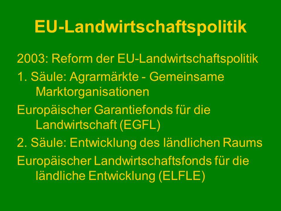 EU-Landwirtschaftspolitik 2003: Reform der EU-Landwirtschaftspolitik 1. Säule: Agrarmärkte - Gemeinsame Marktorganisationen Europäischer Garantiefonds
