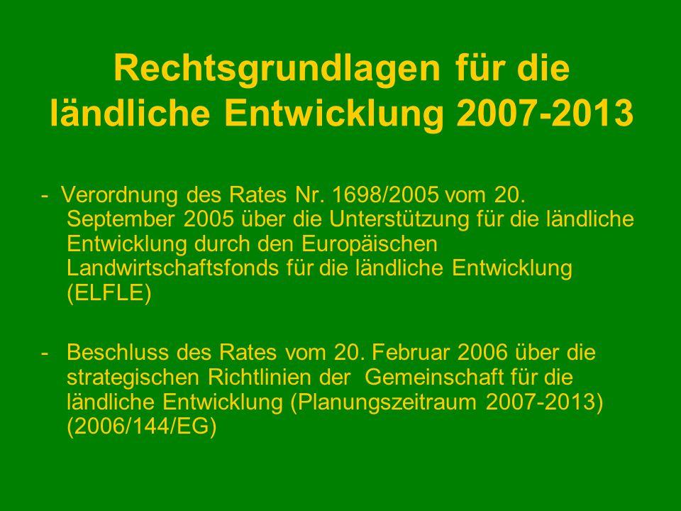 Rechtsgrundlagen für die ländliche Entwicklung 2007-2013 - Verordnung des Rates Nr. 1698/2005 vom 20. September 2005 über die Unterstützung für die lä