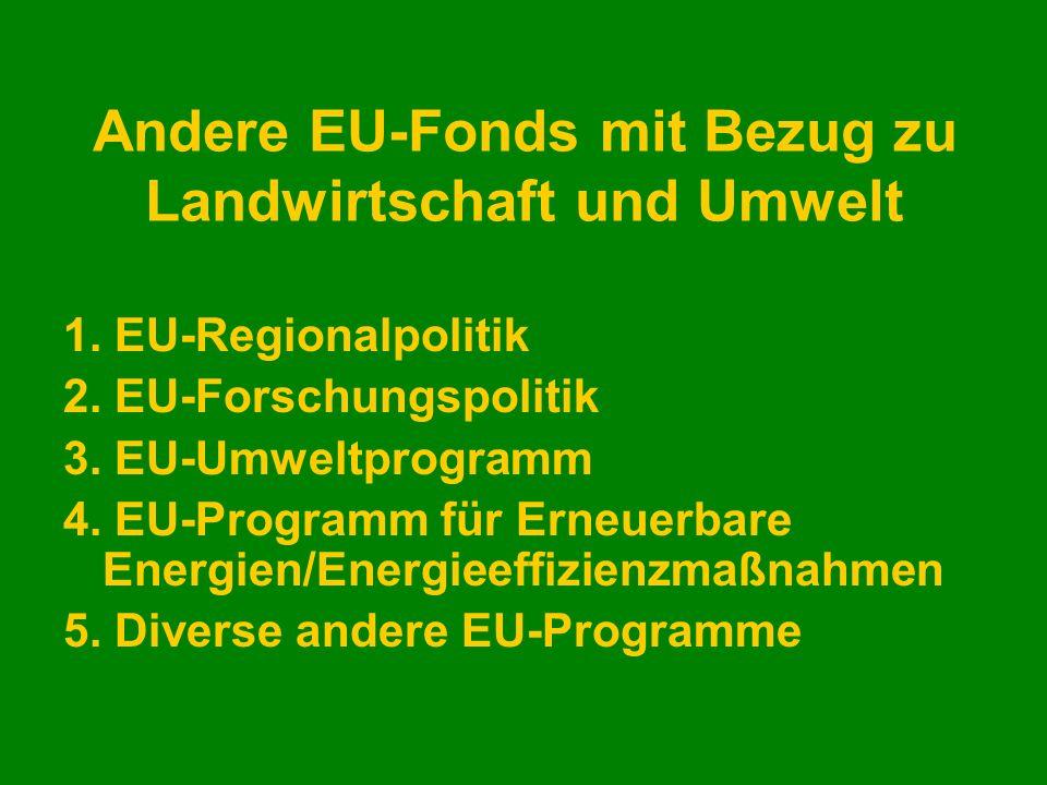 Andere EU-Fonds mit Bezug zu Landwirtschaft und Umwelt 1. EU-Regionalpolitik 2. EU-Forschungspolitik 3. EU-Umweltprogramm 4. EU-Programm für Erneuerba