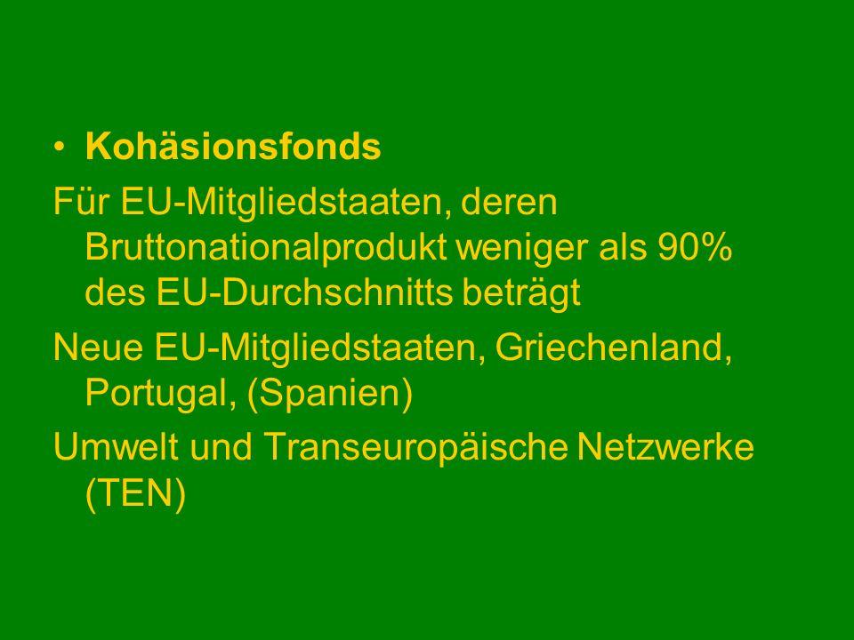 Kohäsionsfonds Für EU-Mitgliedstaaten, deren Bruttonationalprodukt weniger als 90% des EU-Durchschnitts beträgt Neue EU-Mitgliedstaaten, Griechenland,