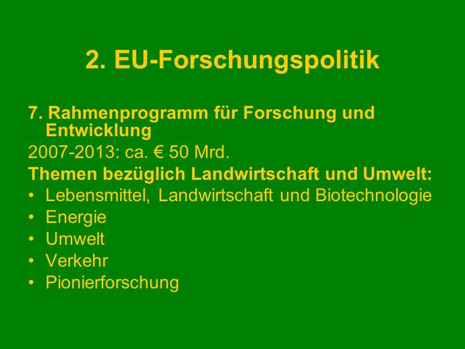 2. EU-Forschungspolitik 7. Rahmenprogramm für Forschung und Entwicklung 2007-2013: ca. 50 Mrd. Themen bezüglich Landwirtschaft und Umwelt: Lebensmitte