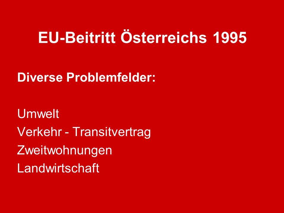 EU-Beitritt Österreichs 1995 Diverse Problemfelder: Umwelt Verkehr - Transitvertrag Zweitwohnungen Landwirtschaft