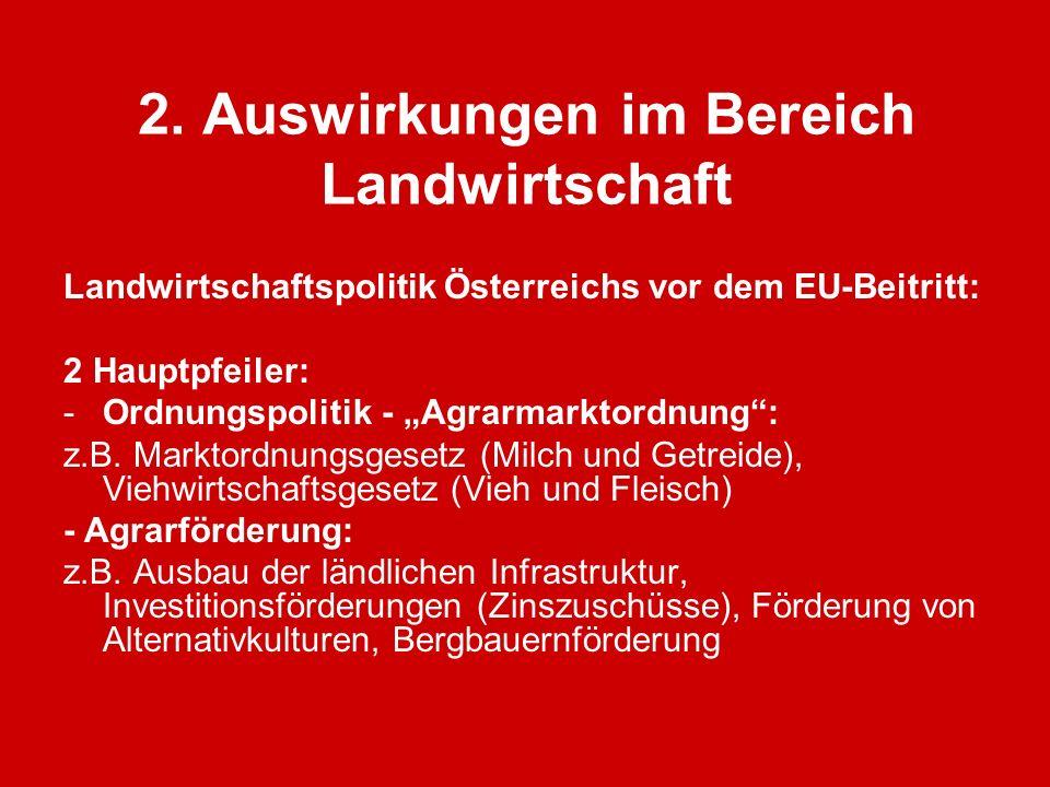2. Auswirkungen im Bereich Landwirtschaft Landwirtschaftspolitik Österreichs vor dem EU-Beitritt: 2 Hauptpfeiler: -Ordnungspolitik - Agrarmarktordnung