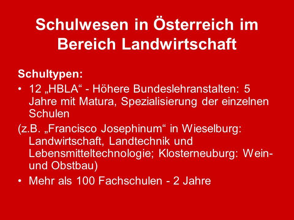 Schulwesen in Österreich im Bereich Landwirtschaft Schultypen: 12 HBLA - Höhere Bundeslehranstalten: 5 Jahre mit Matura, Spezialisierung der einzelnen