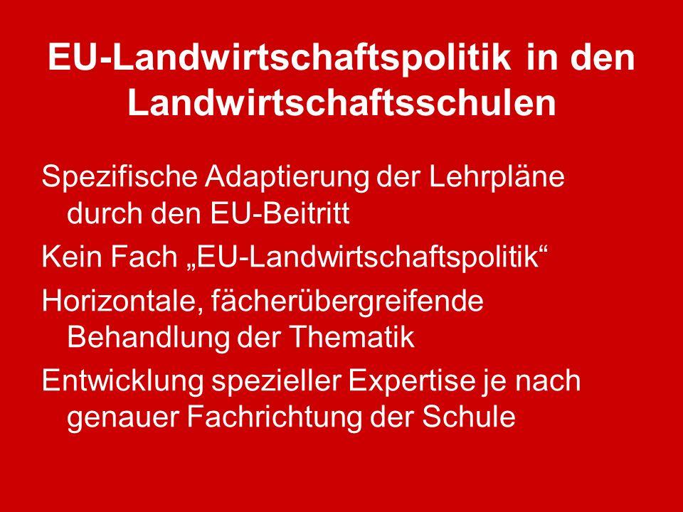 EU-Landwirtschaftspolitik in den Landwirtschaftsschulen Spezifische Adaptierung der Lehrpläne durch den EU-Beitritt Kein Fach EU-Landwirtschaftspoliti