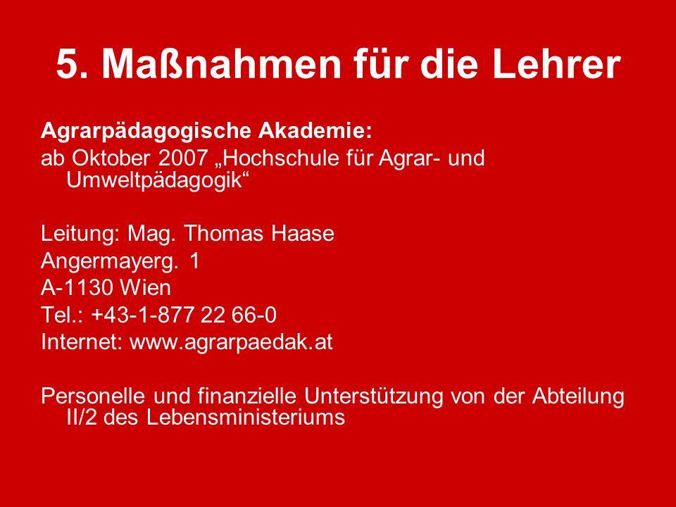 5. Maßnahmen für die Lehrer Agrarpädagogische Akademie: ab Oktober 2007 Hochschule für Agrar- und Umweltpädagogik Leitung: Mag. Thomas Haase Angermaye