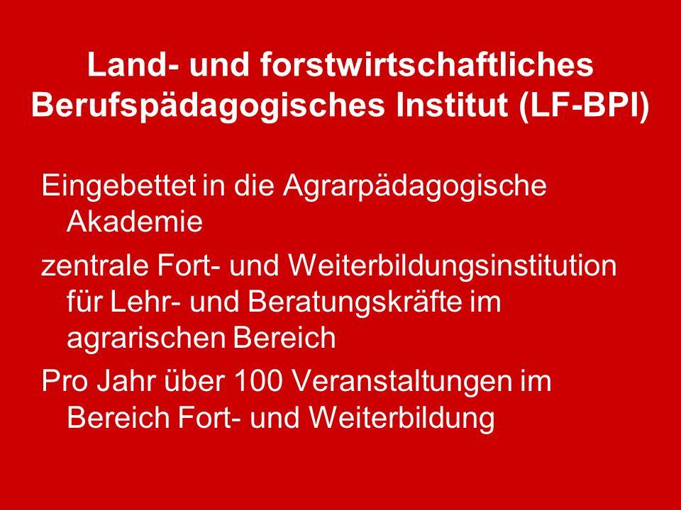Land- und forstwirtschaftliches Berufspädagogisches Institut (LF-BPI) Eingebettet in die Agrarpädagogische Akademie zentrale Fort- und Weiterbildungsi