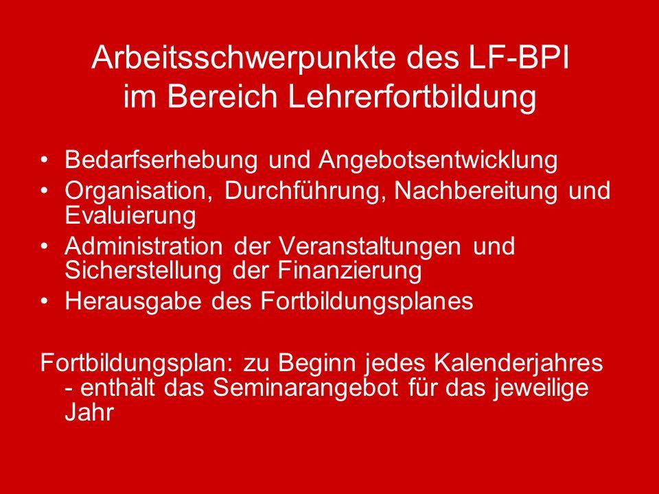Arbeitsschwerpunkte des LF-BPI im Bereich Lehrerfortbildung Bedarfserhebung und Angebotsentwicklung Organisation, Durchführung, Nachbereitung und Eval