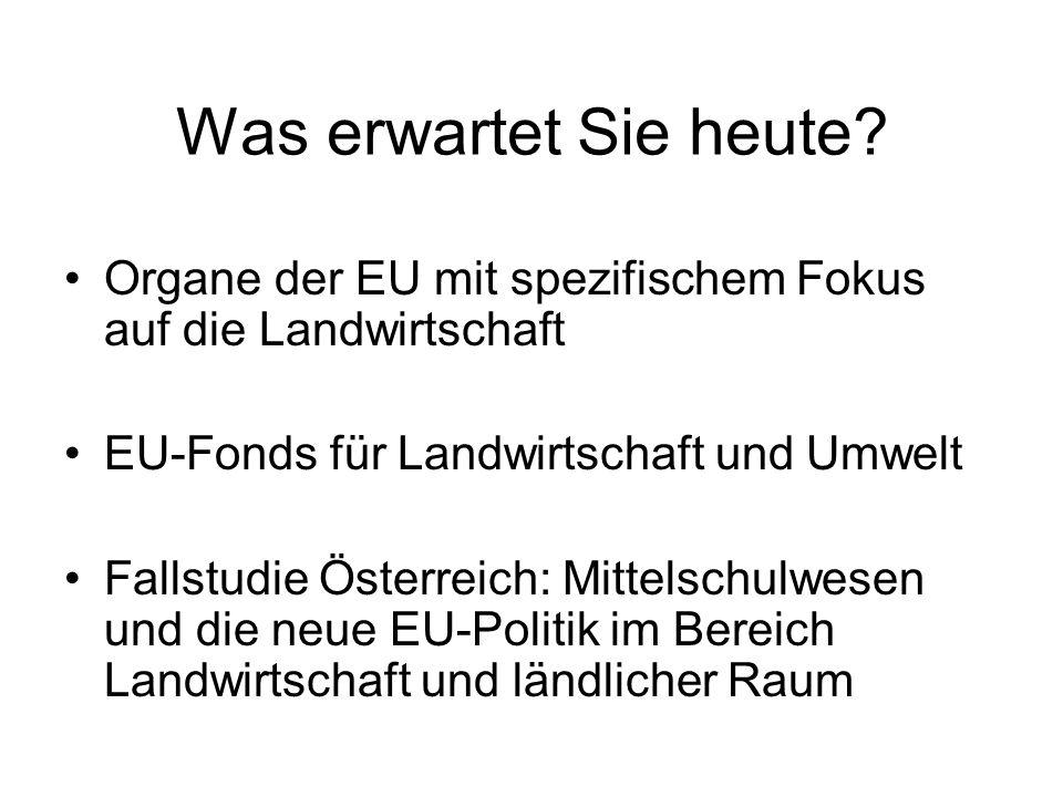 Was erwartet Sie heute? Organe der EU mit spezifischem Fokus auf die Landwirtschaft EU-Fonds für Landwirtschaft und Umwelt Fallstudie Österreich: Mitt