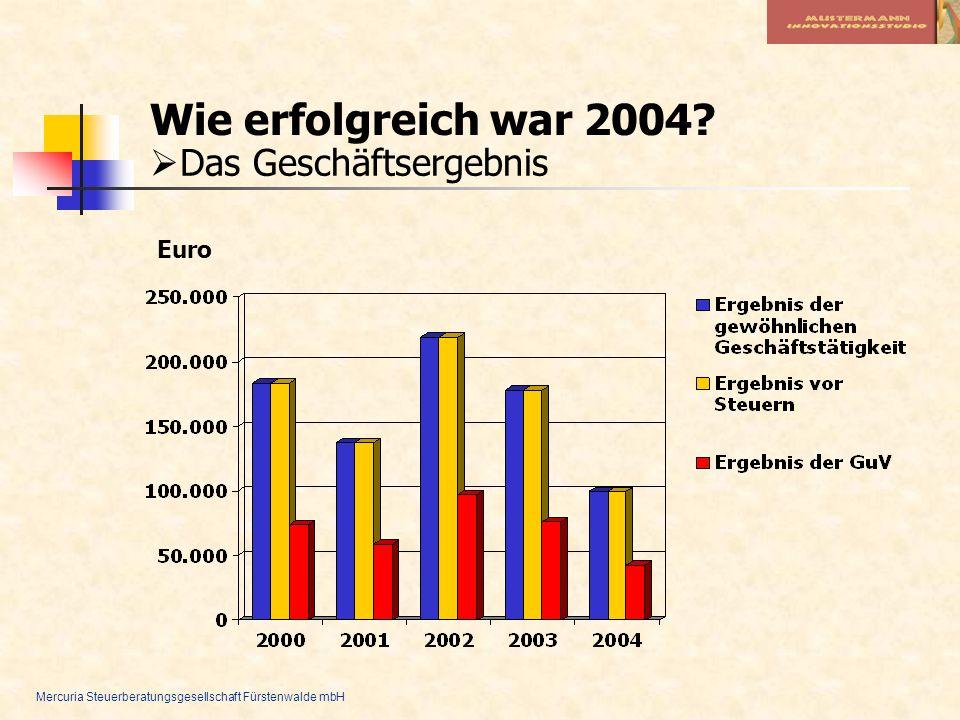 Mercuria Steuerberatungsgesellschaft Fürstenwalde mbH Wie erfolgreich war 2004? Das Geschäftsergebnis Euro
