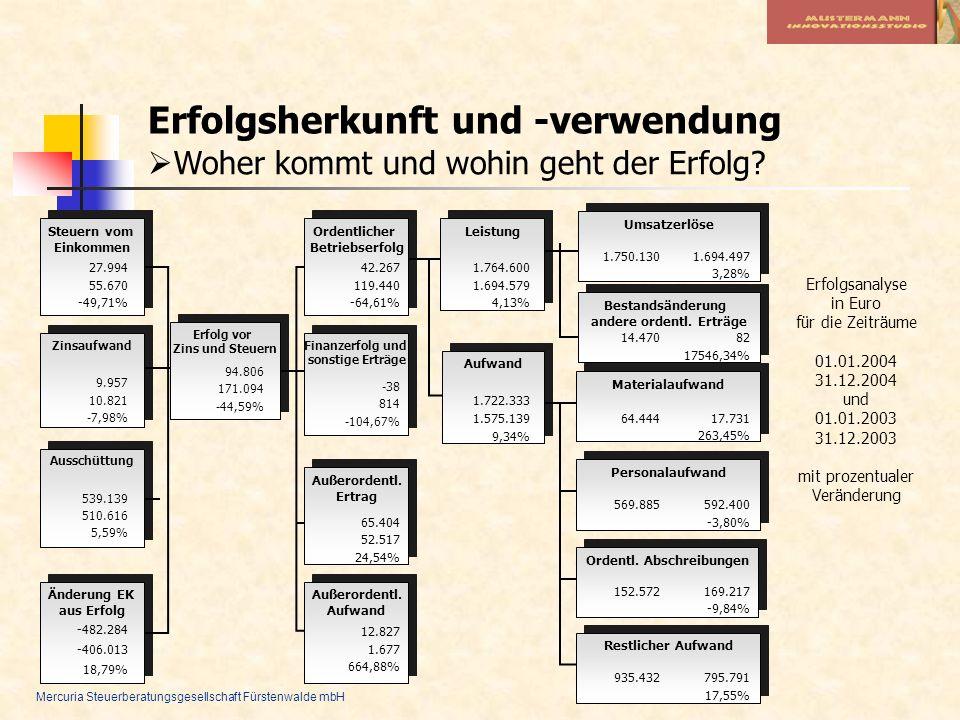 Mercuria Steuerberatungsgesellschaft Fürstenwalde mbH Erfolgsherkunft und -verwendung Woher kommt und wohin geht der Erfolg? Erfolgsanalyse in Euro fü