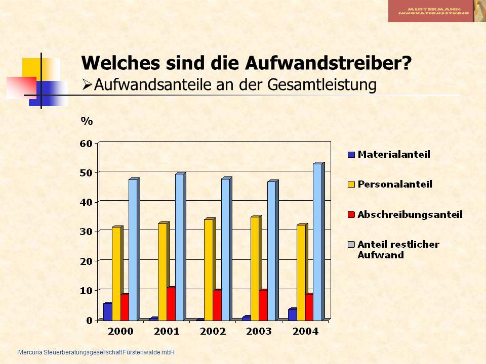 Mercuria Steuerberatungsgesellschaft Fürstenwalde mbH Welches sind die Aufwandstreiber? Aufwandsanteile an der Gesamtleistung %