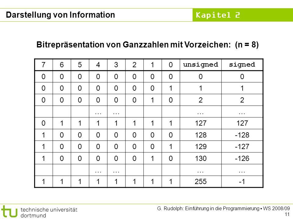 Kapitel 2 G. Rudolph: Einführung in die Programmierung WS 2008/09 11 Bitrepräsentation von Ganzzahlen mit Vorzeichen: (n = 8) 76543210 unsignedsigned