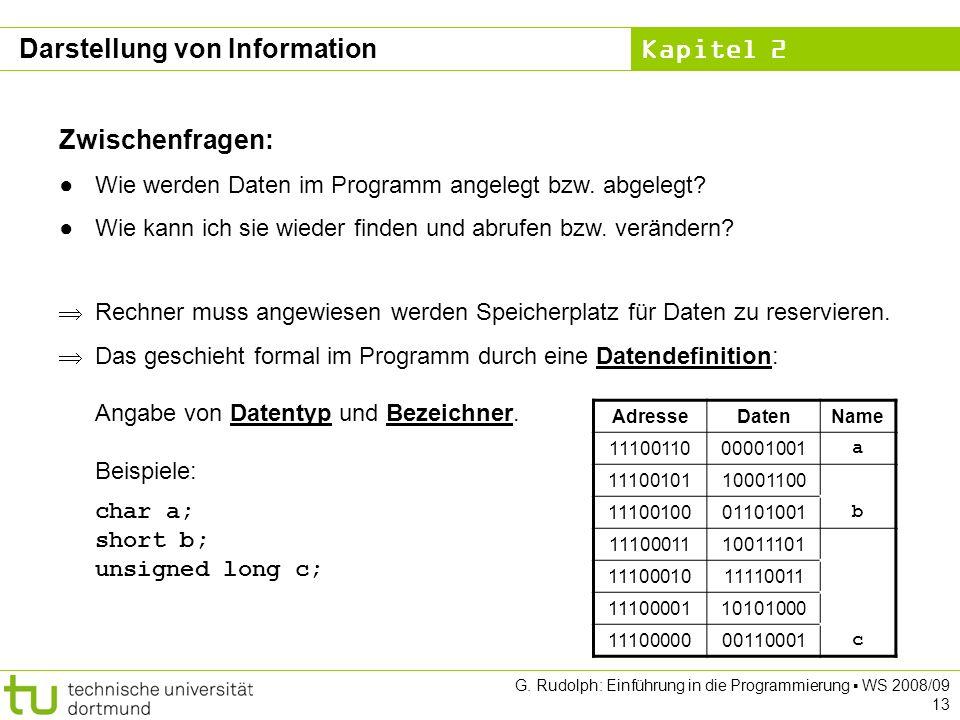 Kapitel 2 G. Rudolph: Einführung in die Programmierung WS 2008/09 13 Zwischenfragen: Wie werden Daten im Programm angelegt bzw. abgelegt? Wie kann ich
