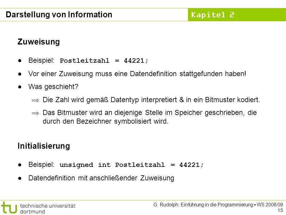 Kapitel 2 G. Rudolph: Einführung in die Programmierung WS 2008/09 15 Zuweisung Beispiel: Postleitzahl = 44221; Vor einer Zuweisung muss eine Datendefi