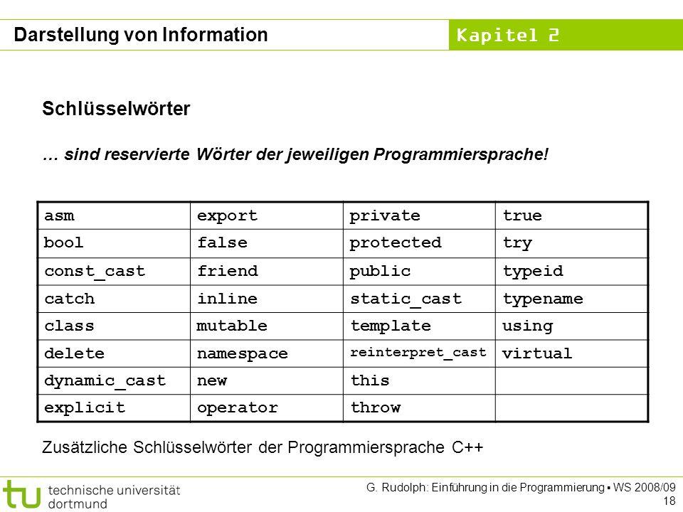 Kapitel 2 G. Rudolph: Einführung in die Programmierung WS 2008/09 18 Schlüsselwörter … sind reservierte Wörter der jeweiligen Programmiersprache! asme
