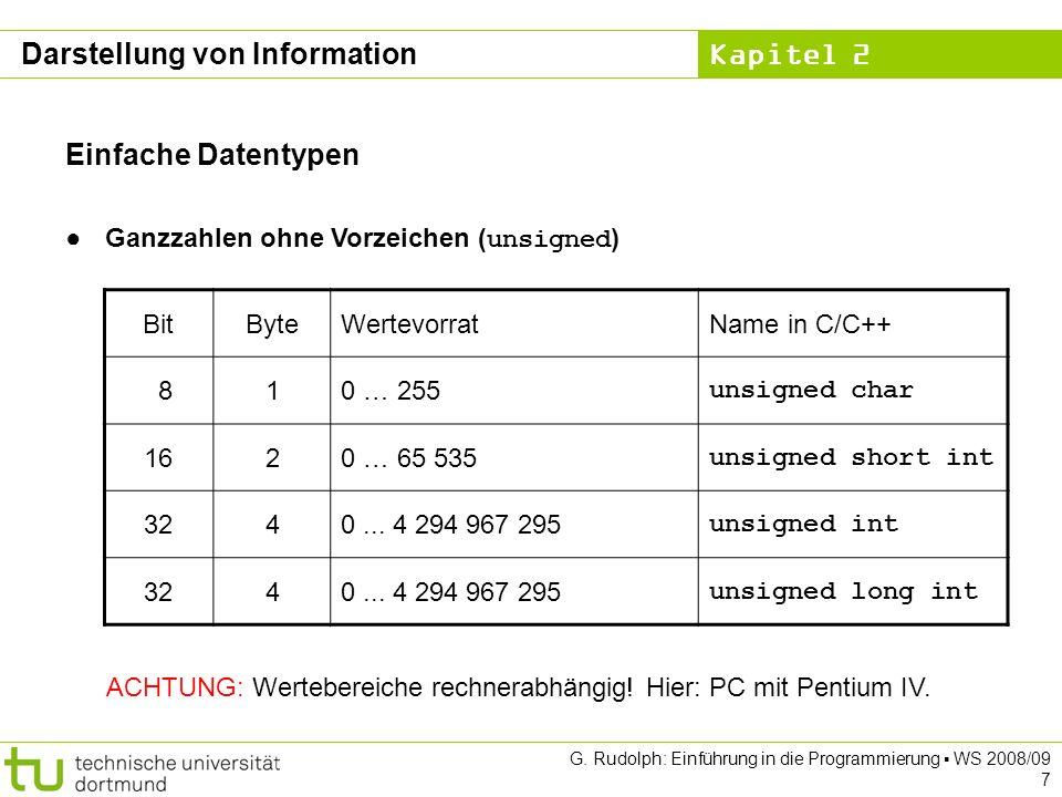 Kapitel 2 G. Rudolph: Einführung in die Programmierung WS 2008/09 7 Einfache Datentypen Ganzzahlen ohne Vorzeichen ( unsigned ) BitByteWertevorratName