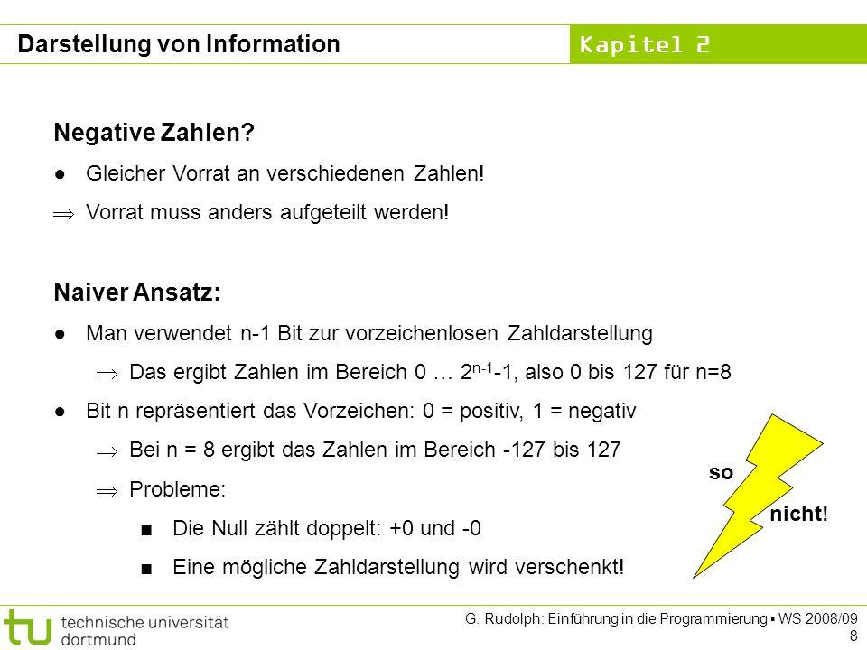 Kapitel 2 G. Rudolph: Einführung in die Programmierung WS 2008/09 8 Negative Zahlen? Gleicher Vorrat an verschiedenen Zahlen! Vorrat muss anders aufge