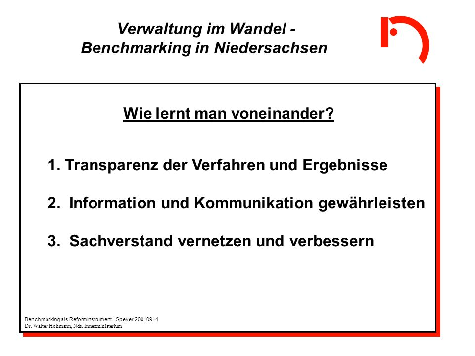 Verwaltung im Wandel - Benchmarking in Niedersachsen Wie lernt man voneinander? 1. Transparenz der Verfahren und Ergebnisse 2. Information und Kommuni