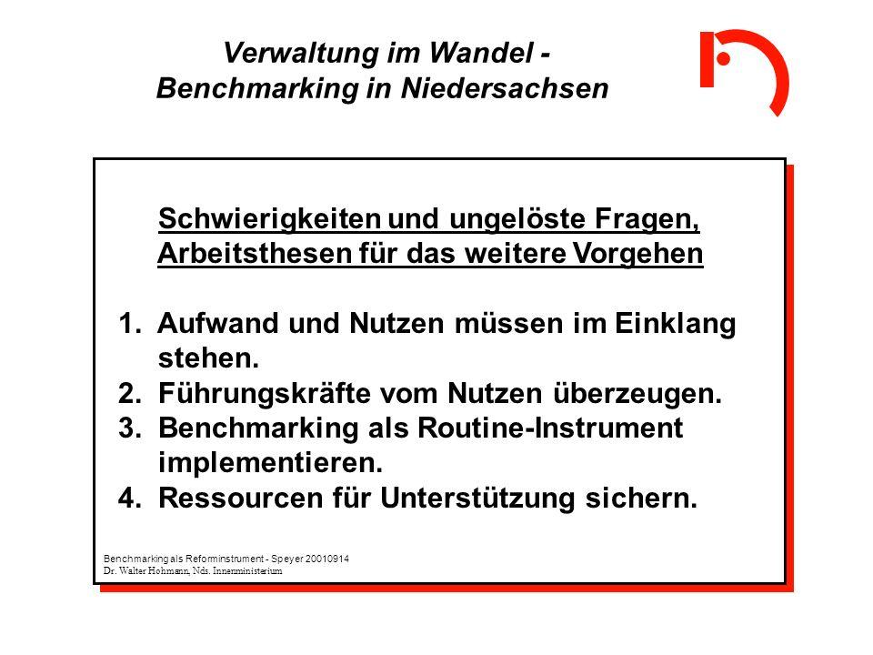 Verwaltung im Wandel - Benchmarking in Niedersachsen Schwierigkeiten und ungelöste Fragen, Arbeitsthesen für das weitere Vorgehen 1. Aufwand und Nutze