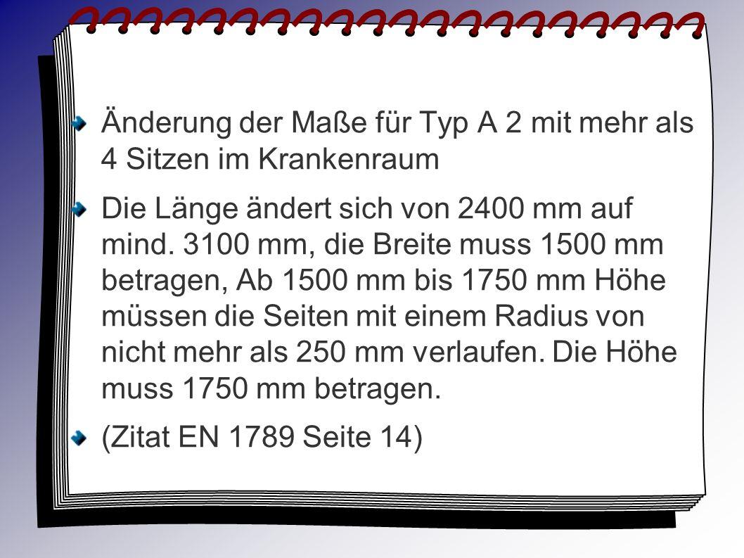 Änderung der Maße für Typ A 2 mit mehr als 4 Sitzen im Krankenraum Die Länge ändert sich von 2400 mm auf mind. 3100 mm, die Breite muss 1500 mm betrag