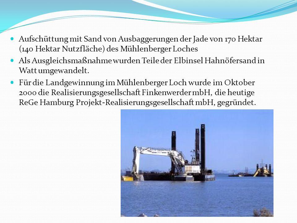 Aufschüttung mit Sand von Ausbaggerungen der Jade von 170 Hektar (140 Hektar Nutzfläche) des Mühlenberger Loches Als Ausgleichsmaßnahme wurden Teile der Elbinsel Hahnöfersand in Watt umgewandelt.