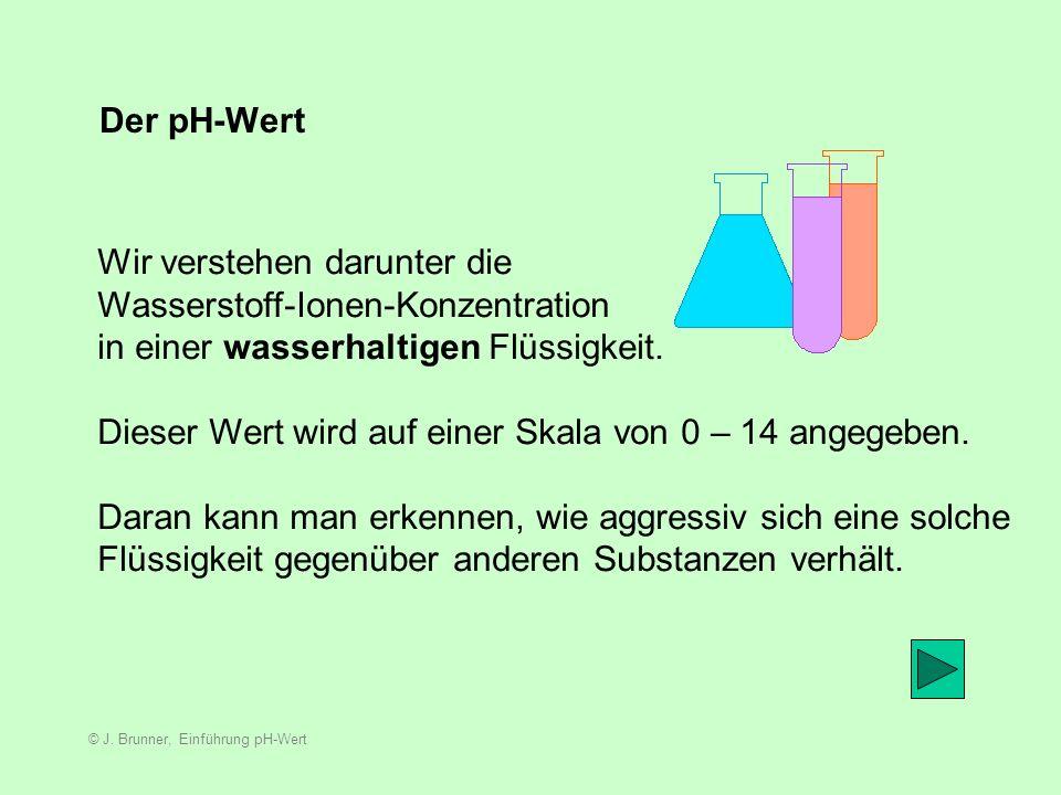 © J. Brunner, Einführung pH-Wert Dem Faktor Chemie innerhalb des Sinnerschen Kreises begegnen wir fast auf Schritt und Tritt. Ein sehr wichtiger Begri