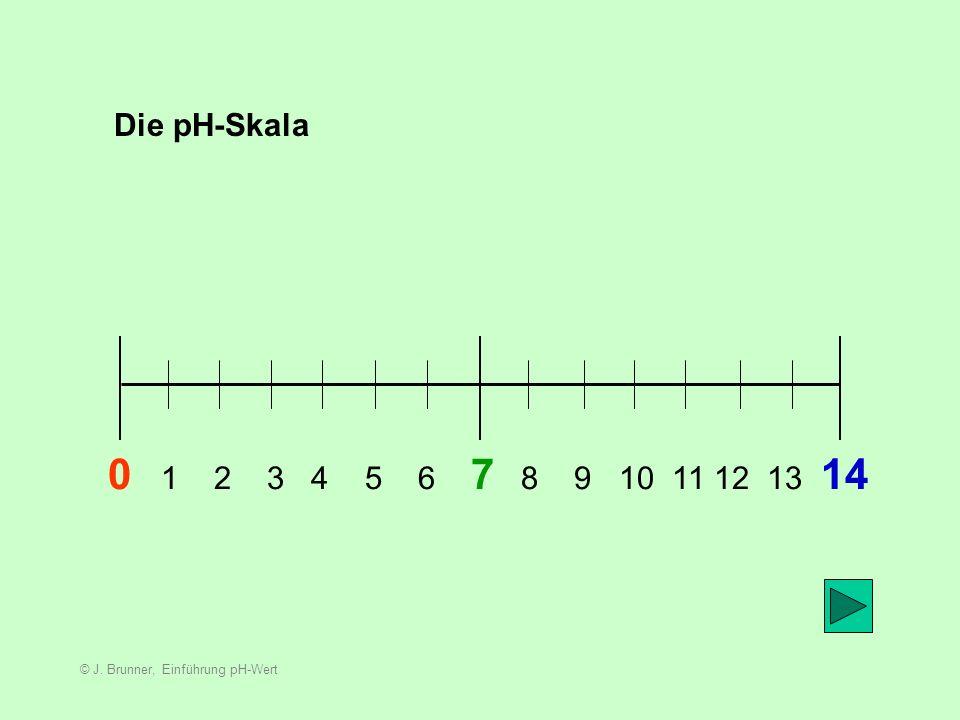 © J. Brunner, Einführung pH-Wert Die pH-Skala 0 1 2 3 4 5 6 7 8 9 10 11 12 13 14