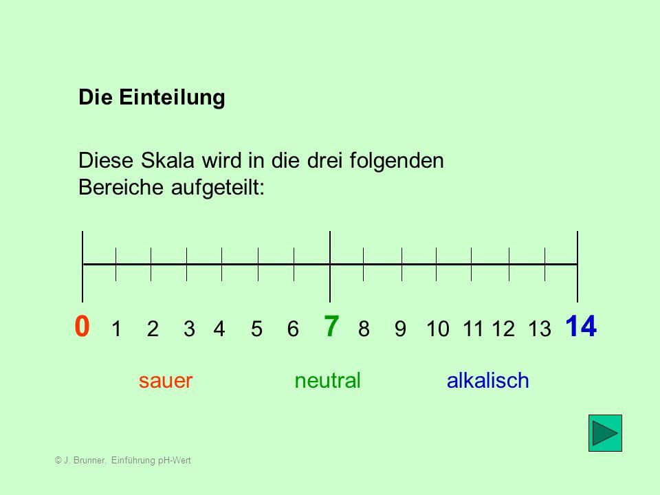 © J.Brunner, Einführung pH-Wert In welchen Bereich des pH-Wertes sind Säuren.