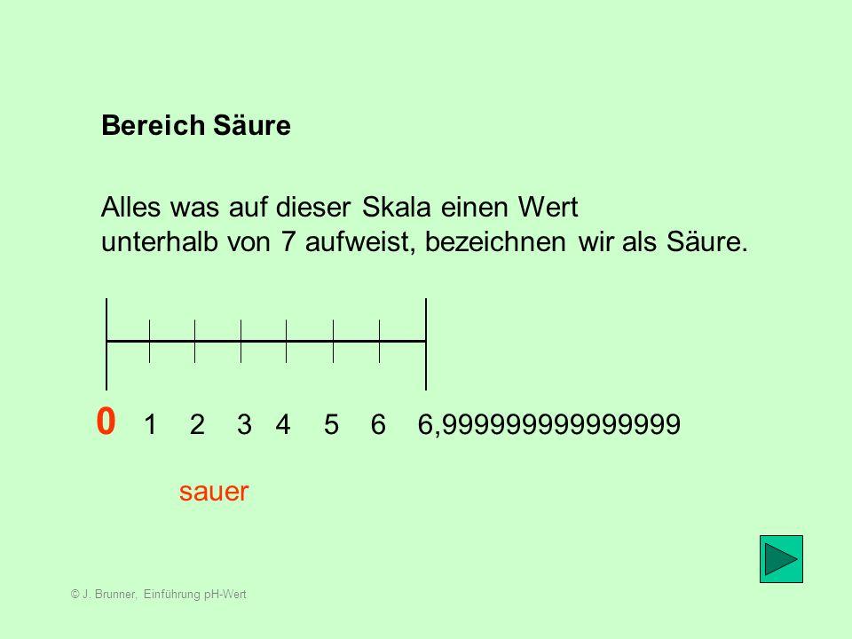 © J. Brunner, Einführung pH-Wert Die Einteilung 0 1 2 3 4 5 6 7 8 9 10 11 12 13 14 sauerneutralalkalisch Diese Skala wird in die drei folgenden Bereic
