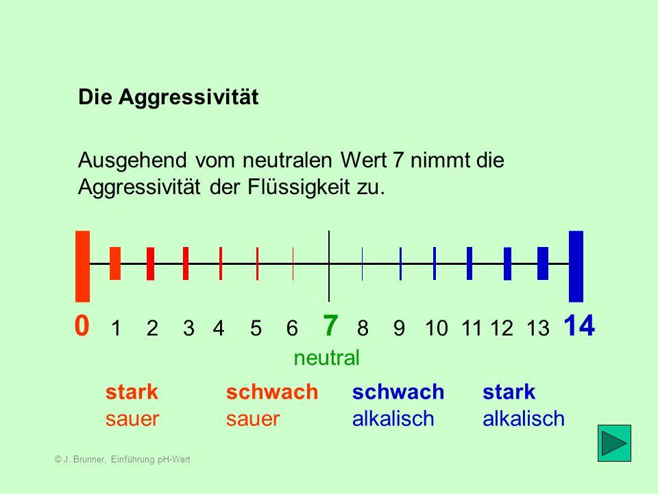 © J. Brunner, Einführung pH-Wert Bereich Neutral 4 5 6 8 9 10 Der Wert in der Mitte, ganz genau 7, gilt als chemisch neutral. 7,00000 neutral