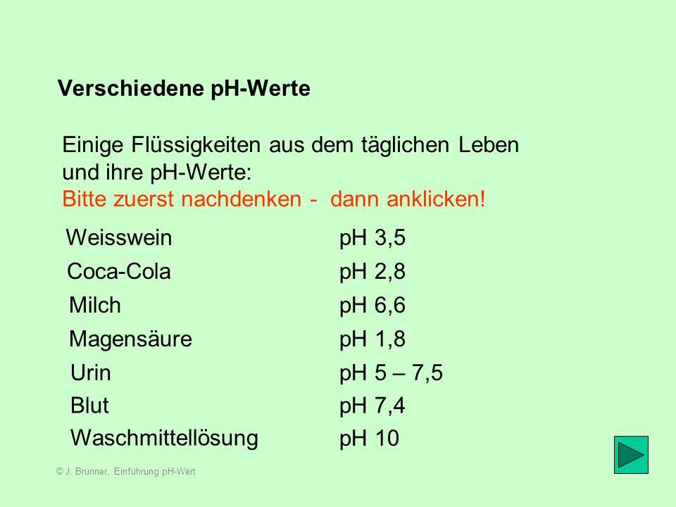 © J. Brunner, Einführung pH-Wert Die Aggressivität 0 1 2 3 4 5 6 7 8 9 10 11 12 13 14 schwach sauer neutral schwach alkalisch Ausgehend vom neutralen