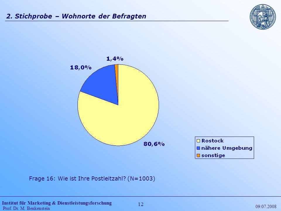 Institut für Marketing & Dienstleistungsforschung Prof. Dr. M. Benkenstein 12 09.07.2008 2. Stichprobe – Wohnorte der Befragten Frage 16: Wie ist Ihre