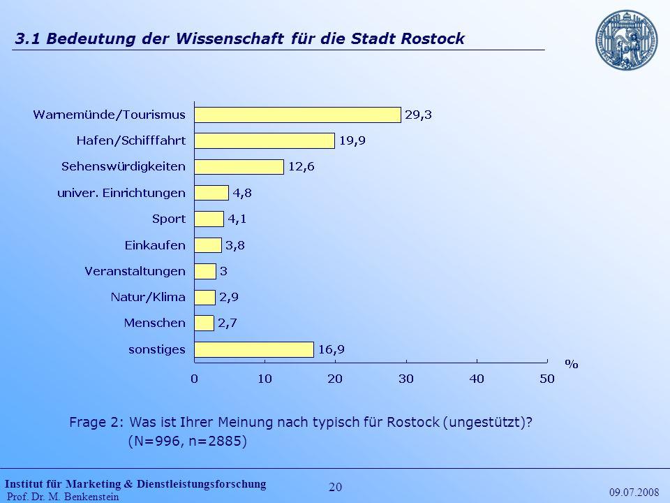 Institut für Marketing & Dienstleistungsforschung Prof. Dr. M. Benkenstein 20 09.07.2008 3.1 Bedeutung der Wissenschaft für die Stadt Rostock Frage 2: