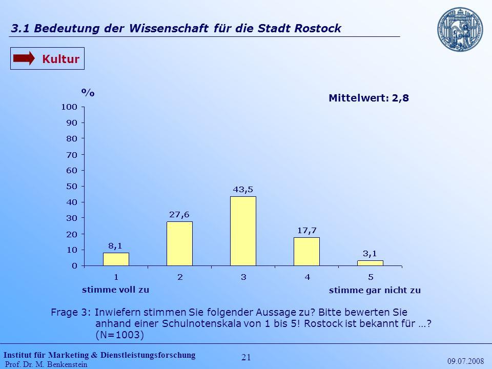 Institut für Marketing & Dienstleistungsforschung Prof. Dr. M. Benkenstein 21 09.07.2008 3.1 Bedeutung der Wissenschaft für die Stadt Rostock Frage 3: