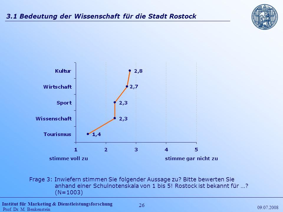 Institut für Marketing & Dienstleistungsforschung Prof. Dr. M. Benkenstein 26 09.07.2008 3.1 Bedeutung der Wissenschaft für die Stadt Rostock stimme v