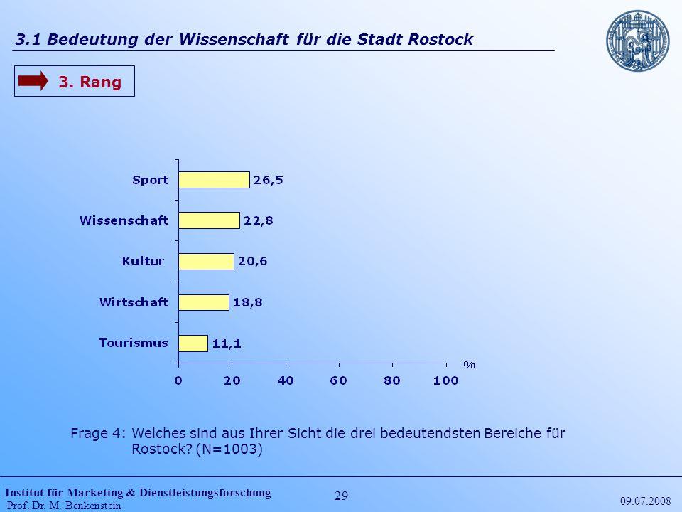 Institut für Marketing & Dienstleistungsforschung Prof. Dr. M. Benkenstein 29 09.07.2008 3.1 Bedeutung der Wissenschaft für die Stadt Rostock 3. Rang