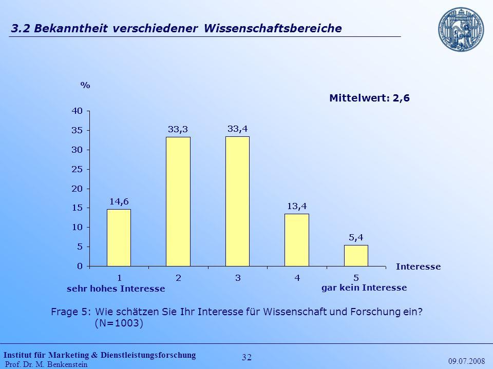 Institut für Marketing & Dienstleistungsforschung Prof. Dr. M. Benkenstein 32 09.07.2008 3.2 Bekanntheit verschiedener Wissenschaftsbereiche Frage 5: